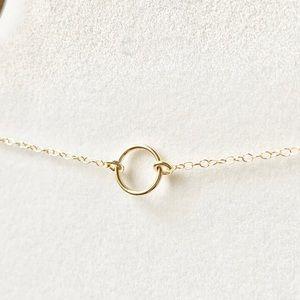 14KGF Mini O Ring Circle Choker Necklace